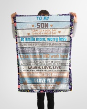 """FBC10029 - Son Today Is A Good Day Small Fleece Blanket - 30"""" x 40"""" aos-coral-fleece-blanket-30x40-lifestyle-front-14"""