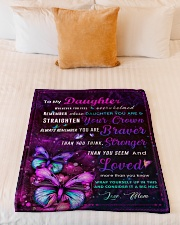 """BL10034P - To My Daughter Butterfly - Personalized Small Fleece Blanket - 30"""" x 40"""" aos-coral-fleece-blanket-30x40-lifestyle-front-04"""