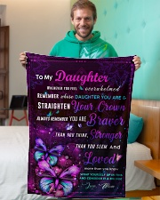 """BL10034P - To My Daughter Butterfly - Personalized Small Fleece Blanket - 30"""" x 40"""" aos-coral-fleece-blanket-30x40-lifestyle-front-09"""