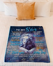 """BL10049 - To My Son Dad Letter Lion Small Fleece Blanket - 30"""" x 40"""" aos-coral-fleece-blanket-30x40-lifestyle-front-04"""