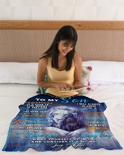 """BL10049 - To My Son Dad Letter Lion Small Fleece Blanket - 30"""" x 40"""" aos-coral-fleece-blanket-30x40-lifestyle-front-12"""