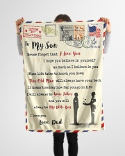 """FBL10011 - To My Son With Love Dad Letter Family  Small Fleece Blanket - 30"""" x 40"""" aos-coral-fleece-blanket-30x40-lifestyle-front-14"""