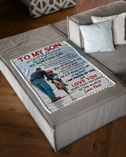 """FBC10037 - To My Son Love Dad Small Fleece Blanket - 30"""" x 40"""" aos-coral-fleece-blanket-30x40-lifestyle-front-03"""