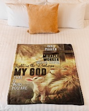 "Jes10092 - Jesus Way Maker Miracle Worker Small Fleece Blanket - 30"" x 40"" aos-coral-fleece-blanket-30x40-lifestyle-front-04"