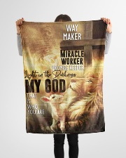 "Jes10092 - Jesus Way Maker Miracle Worker Small Fleece Blanket - 30"" x 40"" aos-coral-fleece-blanket-30x40-lifestyle-front-14"