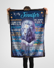 """BL10048N - To My Jennifer Dad Letter Lion Small Fleece Blanket - 30"""" x 40"""" aos-coral-fleece-blanket-30x40-lifestyle-front-14"""