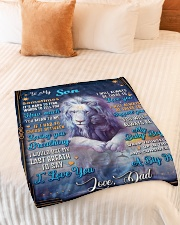 """BL10049P - To My Son Dad Letter Lion -Personalized Small Fleece Blanket - 30"""" x 40"""" aos-coral-fleece-blanket-30x40-lifestyle-front-01"""