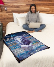 """BL10049P - To My Son Dad Letter Lion -Personalized Small Fleece Blanket - 30"""" x 40"""" aos-coral-fleece-blanket-30x40-lifestyle-front-08"""