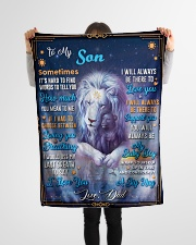 """BL10049P - To My Son Dad Letter Lion -Personalized Small Fleece Blanket - 30"""" x 40"""" aos-coral-fleece-blanket-30x40-lifestyle-front-14"""