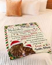 """BL10038 - To Daughter Love Mom Letter Christmas Small Fleece Blanket - 30"""" x 40"""" aos-coral-fleece-blanket-30x40-lifestyle-front-01"""