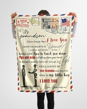 """FBL10051 To My Grandson Letter Family Small Fleece Blanket - 30"""" x 40"""" aos-coral-fleece-blanket-30x40-lifestyle-front-14"""
