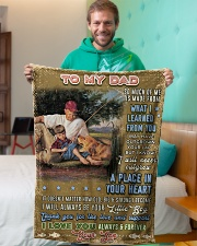 """BL10099 - To My Dad Fishing Love Son Small Fleece Blanket - 30"""" x 40"""" aos-coral-fleece-blanket-30x40-lifestyle-front-09"""