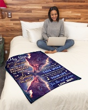 """BL10073 - To My Son Wolf Mom Letter Small Fleece Blanket - 30"""" x 40"""" aos-coral-fleece-blanket-30x40-lifestyle-front-08"""