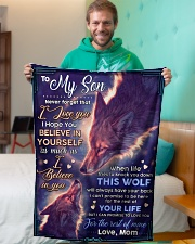 """BL10073 - To My Son Wolf Mom Letter Small Fleece Blanket - 30"""" x 40"""" aos-coral-fleece-blanket-30x40-lifestyle-front-09"""