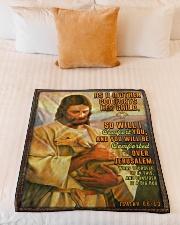 "JES10038BL - Jesus Christ  Small Fleece Blanket - 30"" x 40"" aos-coral-fleece-blanket-30x40-lifestyle-front-04"