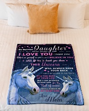 """BL10013 - Beloved Daughter Unicorn 1 Small Fleece Blanket - 30"""" x 40"""" aos-coral-fleece-blanket-30x40-lifestyle-front-04"""