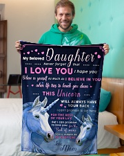 """BL10013 - Beloved Daughter Unicorn 1 Small Fleece Blanket - 30"""" x 40"""" aos-coral-fleece-blanket-30x40-lifestyle-front-09"""