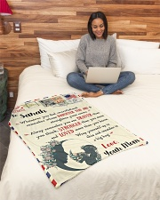 """FBL10021K To Sarah Love Mom Letter Family Small Fleece Blanket - 30"""" x 40"""" aos-coral-fleece-blanket-30x40-lifestyle-front-08"""