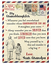 """FBL10064 To My Granddaughter Letter Family Small Fleece Blanket - 30"""" x 40"""" front"""