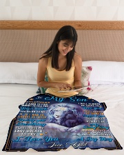 """BL10049A - To My Son Dad Letter Lion Small Fleece Blanket - 30"""" x 40"""" aos-coral-fleece-blanket-30x40-lifestyle-front-12"""