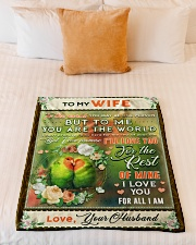 """BL10084 - To My Wife You Are The World Small Fleece Blanket - 30"""" x 40"""" aos-coral-fleece-blanket-30x40-lifestyle-front-04"""