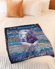"""BL10048N - To My Hannah Dad Letter Lion Small Fleece Blanket - 30"""" x 40"""" aos-coral-fleece-blanket-30x40-lifestyle-front-01"""