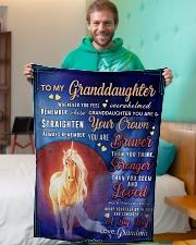 "BL10079 - To Granddaughter Love Grandma Unicorn Small Fleece Blanket - 30"" x 40"" aos-coral-fleece-blanket-30x40-lifestyle-front-09"