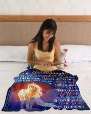 "BL10079 - To Granddaughter Love Grandma Unicorn Small Fleece Blanket - 30"" x 40"" aos-coral-fleece-blanket-30x40-lifestyle-front-12"
