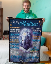 """BL10048N - To My Madison Dad Letter Lion Small Fleece Blanket - 30"""" x 40"""" aos-coral-fleece-blanket-30x40-lifestyle-front-09"""
