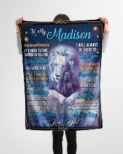 """BL10048N - To My Madison Dad Letter Lion Small Fleece Blanket - 30"""" x 40"""" aos-coral-fleece-blanket-30x40-lifestyle-front-14"""