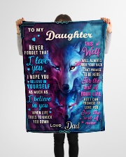 """BL10056P - To My Daughter Wolf Dad - Personalized Small Fleece Blanket - 30"""" x 40"""" aos-coral-fleece-blanket-30x40-lifestyle-front-14"""