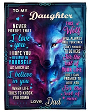 """BL10056P - To My Daughter Wolf Dad - Personalized Small Fleece Blanket - 30"""" x 40"""" front"""