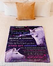"BL10016- Beloved Granddaughter Unicorn 3 Small Fleece Blanket - 30"" x 40"" aos-coral-fleece-blanket-30x40-lifestyle-front-04"