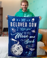 """BL10040 - To My Son Love You To The Moon Small Fleece Blanket - 30"""" x 40"""" aos-coral-fleece-blanket-30x40-lifestyle-front-09"""