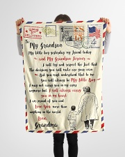 """FBL10055 To My Grandson Letter Family Small Fleece Blanket - 30"""" x 40"""" aos-coral-fleece-blanket-30x40-lifestyle-front-14"""