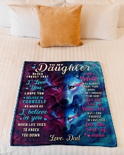 """BL10046 - To My Daughter Dad Letter Wolf Small Fleece Blanket - 30"""" x 40"""" aos-coral-fleece-blanket-30x40-lifestyle-front-04"""