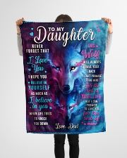 """BL10046 - To My Daughter Dad Letter Wolf Small Fleece Blanket - 30"""" x 40"""" aos-coral-fleece-blanket-30x40-lifestyle-front-14"""