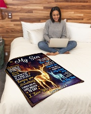 """BL10065 - To My Son Dad Letter Deer Small Fleece Blanket - 30"""" x 40"""" aos-coral-fleece-blanket-30x40-lifestyle-front-08"""
