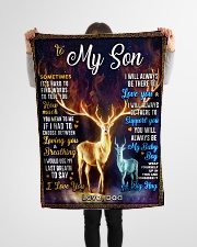 """BL10065 - To My Son Dad Letter Deer Small Fleece Blanket - 30"""" x 40"""" aos-coral-fleece-blanket-30x40-lifestyle-front-14"""