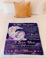 """BL10108 - To My Daughter Unicorn Moon Love Mom Small Fleece Blanket - 30"""" x 40"""" aos-coral-fleece-blanket-30x40-lifestyle-front-04"""