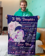 """BL10108 - To My Daughter Unicorn Moon Love Mom Small Fleece Blanket - 30"""" x 40"""" aos-coral-fleece-blanket-30x40-lifestyle-front-09"""