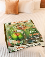 """BL10085 - To My Husband You Are The World Small Fleece Blanket - 30"""" x 40"""" aos-coral-fleece-blanket-30x40-lifestyle-front-01"""