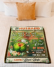"""BL10085 - To My Husband You Are The World Small Fleece Blanket - 30"""" x 40"""" aos-coral-fleece-blanket-30x40-lifestyle-front-04"""