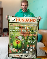 """BL10085 - To My Husband You Are The World Small Fleece Blanket - 30"""" x 40"""" aos-coral-fleece-blanket-30x40-lifestyle-front-09"""