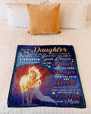 """BL10078 - To My Daughter Mom Letter Unicorn Small Fleece Blanket - 30"""" x 40"""" aos-coral-fleece-blanket-30x40-lifestyle-front-04"""