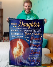 """BL10078 - To My Daughter Mom Letter Unicorn Small Fleece Blanket - 30"""" x 40"""" aos-coral-fleece-blanket-30x40-lifestyle-front-09"""