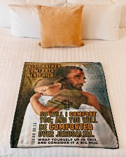 """JES10037BL - Jesus Christ You Will Be Comforted Small Fleece Blanket - 30"""" x 40"""" aos-coral-fleece-blanket-30x40-lifestyle-front-04"""