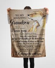 "FBC10049 - To My Grandson Grandma Lions Small Fleece Blanket - 30"" x 40"" aos-coral-fleece-blanket-30x40-lifestyle-front-14"