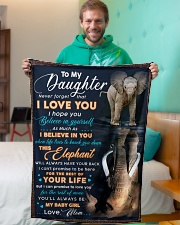 """BL10074 - To My Daughter Elephant Mom Letter Small Fleece Blanket - 30"""" x 40"""" aos-coral-fleece-blanket-30x40-lifestyle-front-09"""