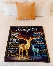 """BL10064 - To My Daughter Dad Letter Deer Small Fleece Blanket - 30"""" x 40"""" aos-coral-fleece-blanket-30x40-lifestyle-front-04"""